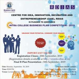 Intra College Business Plan Assessment Contest by CIIE @ Lecture Theatre