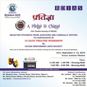 10 Days Theater Workshop @ rukmini devi institute of advanced studies